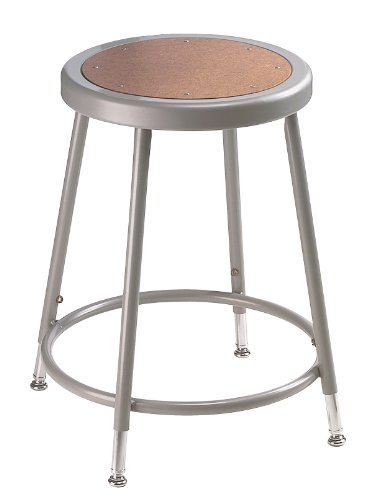 National Public Seating 6218H  Grey Steel Stool with Hardboard Seat Adjustable, 19