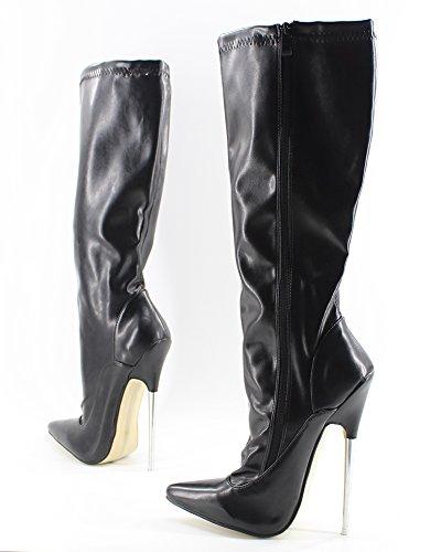 Wonderheel stiletto metal heel pointed toe matte schwarz langschaft stiefel knee high boots