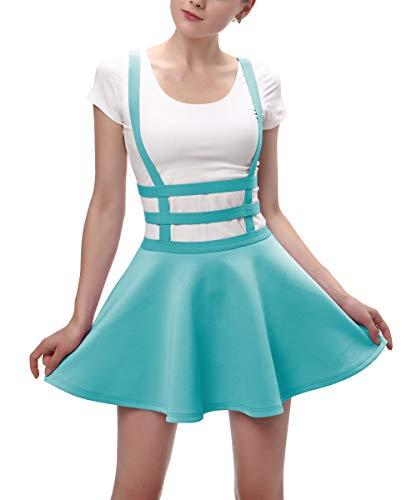 Urban CoCo Womens Elastic Waist Pleated Short Braces Skirt (S, Light ()
