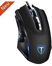 HoLife Gaming Maus, [Neue Version] Gamer Maus 7200DPI PC Gaming Maus Hohe Präzision für Pro Gamer mit 7 programmierbaren Tasten/ LED/ ergonomisches Design/ USB-Wired Maus optisch (Schwarz)