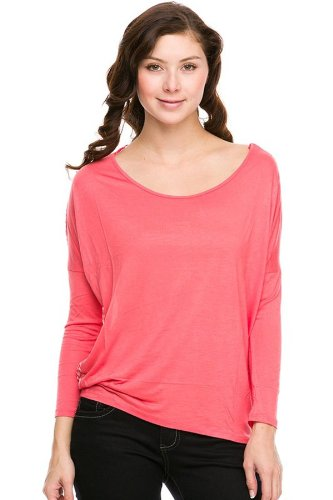 G2 Chic Women's Long Sleeve Slouchy Top with Printed Back(TOP-SHT,LRD-S)