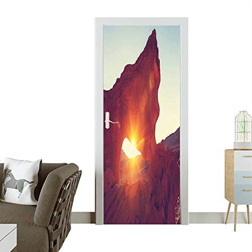 (Modern Art Door Sticker Reflecti Over Ancient Cave Shaped Cliff Hot Regi ifact Orange Environmentally Friendly decorationW23 x H70 INCH)