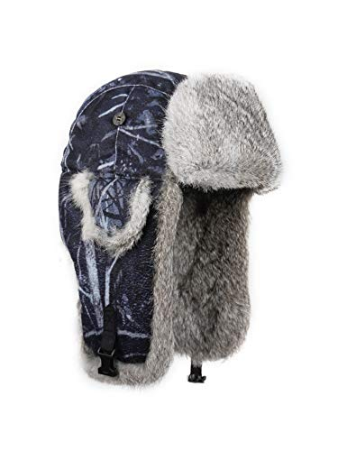 33510d95becc2 Mad Bomber Harvest Moon with Genuine Grey Rabbit Fur Aviator Hat Trooper  Trapper Winter Cap
