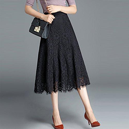 Mousseline des de Rouge Jupe Lache Jupe de Soie Robe de Plage Femmes Femmes Mode Robe Plisse WCZ noir en Jupe d't H4atnx