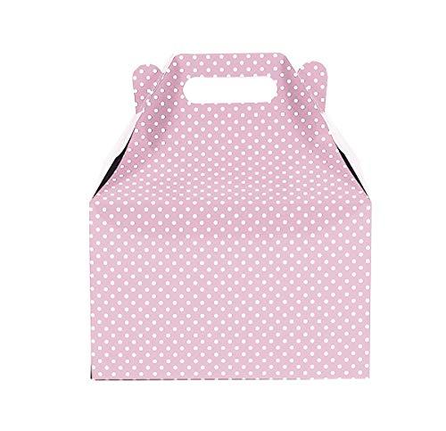 12CT (1 Dozen) Large Biodegradable Kraft/Craft Favor Treat Gable Boxes (Large, Polka Dot Light Pink)