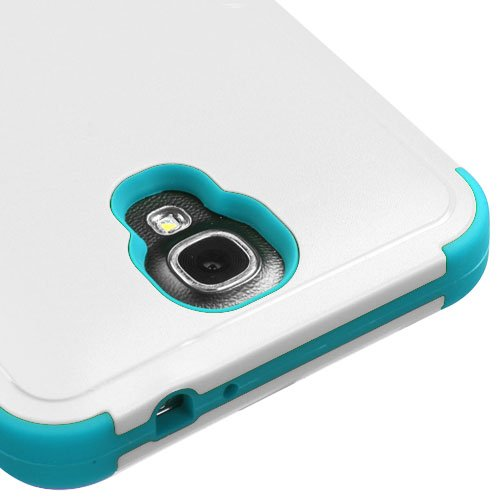 Galaxy Mega 2 Case, Kaleidio [Mybat Natural TUFF] Dual Layer Shock Proof Hybrid Case Cover w/ Metal Kickstand for Samsung Galaxy Mega II 2 G750F [Package Includes a Overbrawn Prying Tool & Stylux Stylus/Pen Dust Plug Combo] - Retail Packaging [White/Teal]