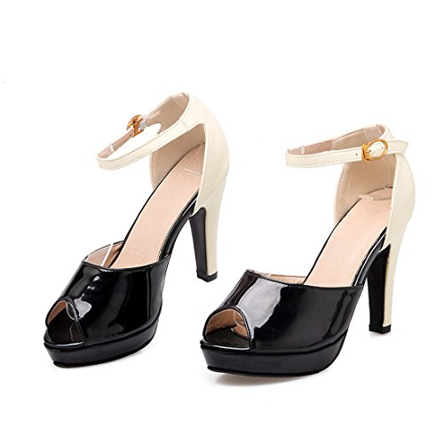 YE Women Ankle Strap Block High Heels Sandals Patent Leather Platform Pumps Shoes Black f46s0fo4xv