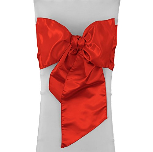 LA Linen Red Satin Sash 6x104-Inch, Pack-1]()
