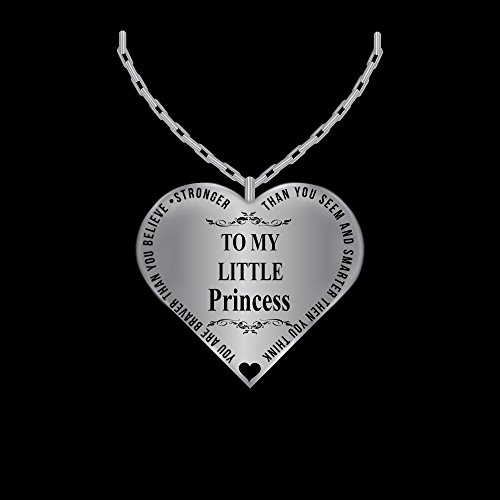 Father To Daughter Jewelry Heart Necklace - Silver Charm Pendant From Dad - Laser Engraved (Father To Be Fathers Day Gift Ideas)