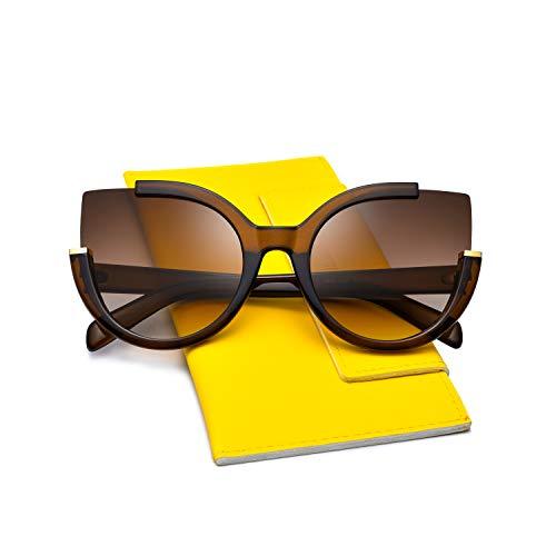 Mosanana Oversized Cateye Sunglasses for Women Ladies Brown Fashion Big Large Trendy Unique Cute Unique Retro Vintage Luxury Shades Sun Glasses lentes gafas de sol de para mujer Cat Round ()