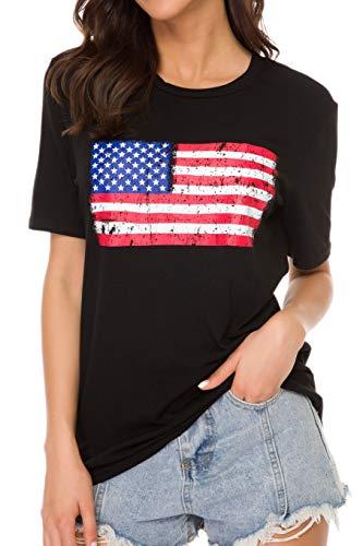 Women's American Flag Tee Shirts Short Sleeve 4th July Patriotic USA Flag T-Shirt Blouse Tops - Flag Patriotic Usa T-shirt