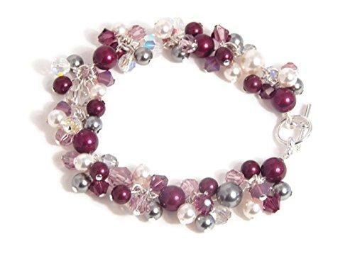 - Purple Swarovski Crystal Charm Bracelet