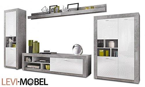 Amazon De Generic Wohnwand 5 Tlg Wohnzimmer Lowboard Beton Optik