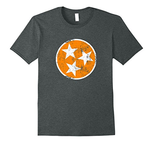 Mens Orange White Tennessee Flag Vintage Grunge Graphic T-Shirt 3XL Dark Heather Tennessee Tn T-shirt