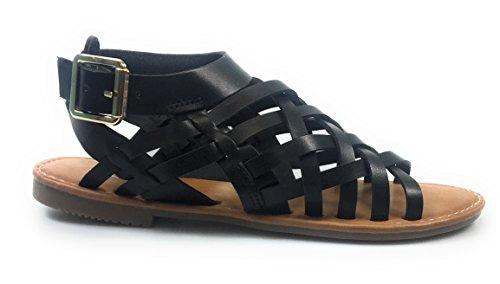 Voor Altijd Link Dames Dames Uitgesneden Gladiator Sandalen Platte Knie Laarzen Strappy (7.5, Zwart)