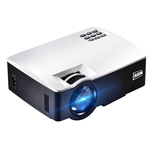 AUN Projector, 1800 Lumens Portable LCD Video Projector for Home Theater, HDMI VGA USB AV, Support Full HD 1080p (White)