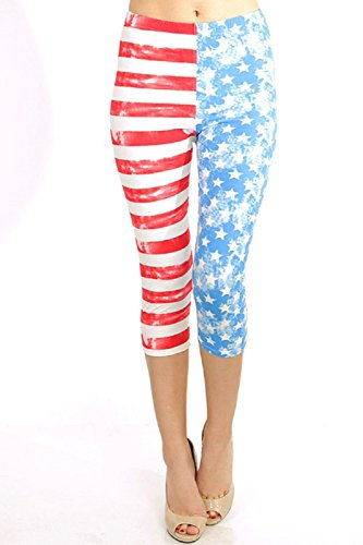 Elegant4U Junior's Brushed American Flag Print High-Waist Capri Leggings #1 (Tween Leggings)