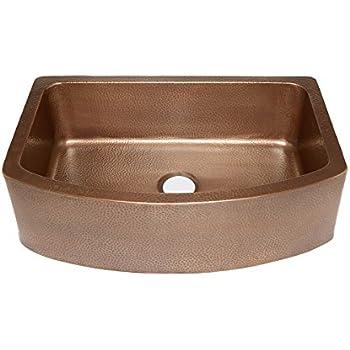 "Sinkology SK304-33B Ernst Farmhouse Apron Handmade Pure Bow Front Single Bowl Sink, 33"", Antique Copper"