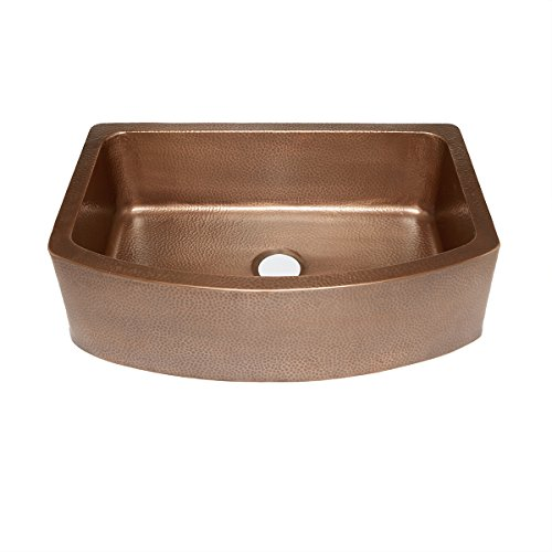Sinkology SK304-33B Ernst Farmhouse Apron Handmade Pure Bow Front Single Bowl Sink, 33