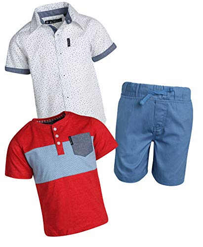 Ben Sherman Boys 3 Piece Short Sleeve Shirt, T-Shirt, and Twill Short Set (Light Blue/White/Red, 5)'