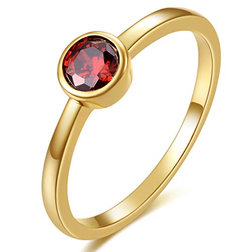 - E 18K Yellow Gold Plated Shell Pearl Rings for Women, Womens Stackable Birthstone Ring Set, Fashion Statement Band Finger Rings for Teen Girls with CZ Gemstones (8, Dark red Cubic-Zirconia)