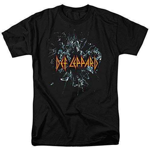 (Def Leppard Shattered Glass 80s Hard Rock T Shirt & Exclusive Stickers (Large) Black)