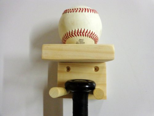 Baseball Bat Rack and Ball Holder Display Meant to Hold 1 Full Size Bat and 1 Baseball Natural Pine Select Wood by MWC