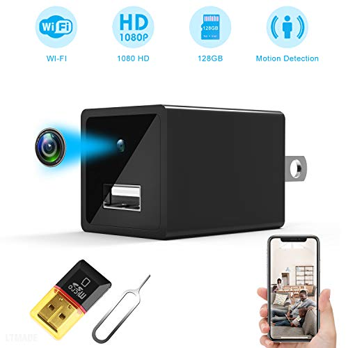 Mini Hidden Spy Camera - 2 in 1 Wireless Home USB Security Camera with Charger - 1080P HD WiFi Hidden Camera - Wide Angle Nanny Spy Camera - Loop Recording Security Spy Camera - Motion Detector ()