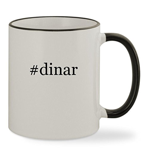 Dinar   11Oz Hashtag Colored Rim   Handle Sturdy Ceramic Coffee Cup Mug  Black