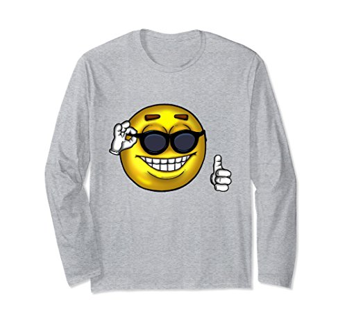 Unisex Sunglasses Thumbs Up Meme Long Sleeve Shirt XL: Heather - Sunglasses Meme Guy