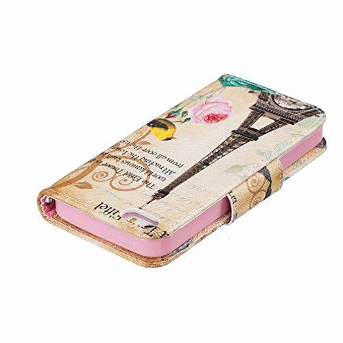 Yiizy Apple IPhone 5 / IPhone 5s / IPhone SE Funda, Torre De Transmisión Diseño Solapa Flip Billetera Carcasa Tapa Estuches Premium PU Cuero Cover Cáscara Bumper Protector Slim Piel Shell Case Stand R