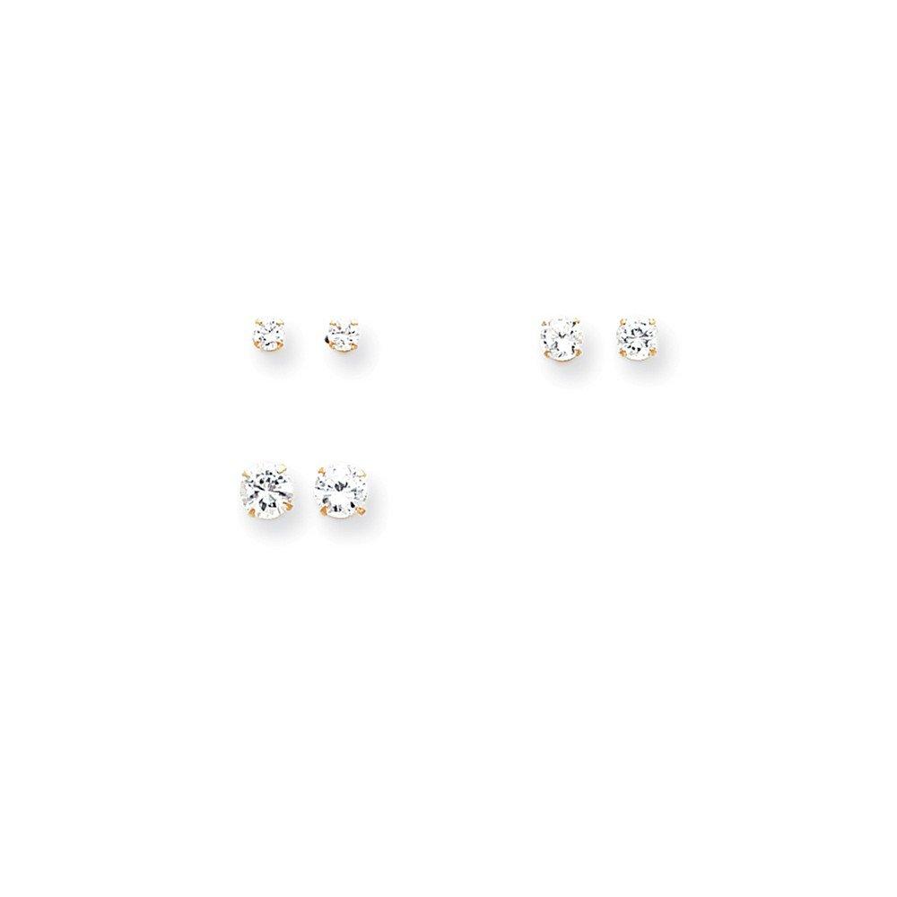 Cubic Zirconia Post Earrings 14k Madi K 3-Pair Set