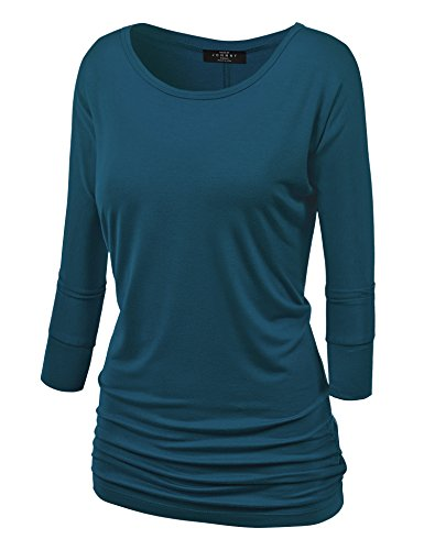 mbj-wt822-womens-3-4-sleeve-with-drape-top-l-teal
