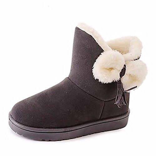 D'hiver Pour Bowknot Eu39 Mid gris Cn39 Noir Gris Zhudj Bout Neige Rond Uk6 Occasionnels calf Chaussures Bottes us8 Femmes Rouge TIfwxv5Aq