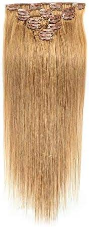 CUIYUNTAOshop 女性 100グラム 24インチ ヘア クリップ 耐熱 超薄型 グラデーションカラー 女性 かつら ウィッグ 自然 エクステンション (Color : #27 blonde)
