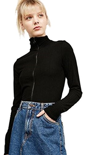 Arctic Cubic High Mock Neck Turtleneck Zipper Front Zip Up Ribbed Rib Cardigan Sweater Top Black XL (Long Ribbed Turtleneck Sleeved Girls)