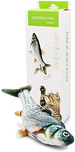 Dancing Fish Toy for Indoor Cats & Small Dogs – Motion Sensor Cat Toy with 2 Catnip Packets – USB-Chargeable, Soft, Durable, Washable, Low-Noise Flippity Fish Interactive Pet Gifts, 12×5 In.