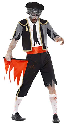 Smiffys Men's Zombie Matador Costume, Jacket, pants, Cummerbund, Hat and Red Flag, Zombie Alley, Halloween, Size L, 44368 -