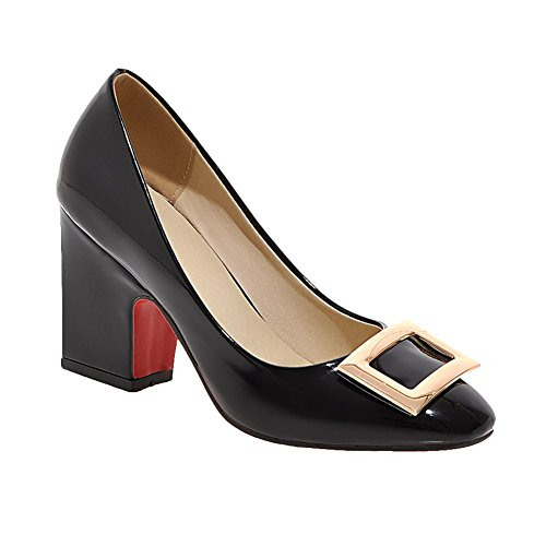 Mee Shoes Damen chunky heels Lackleder runder toe Pumps Schwarz