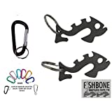 "2 Fishbone ""Piranha"" Paracord Knotless Rope & Gear Ties with Quick Access (1) Carabiner & Keyring"