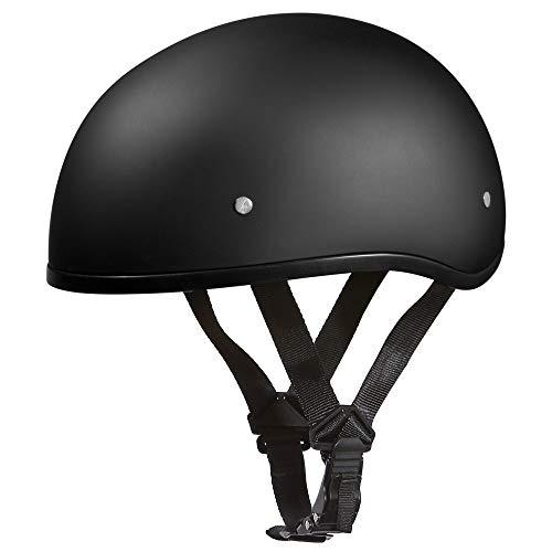 Daytona Helmets D1-BNS Skull Cap Style Motorcycle Helmet Bundle with Head Wrap and Cloth Draw String Bag, Dull Black, - Helmets Cap Skull Daytona