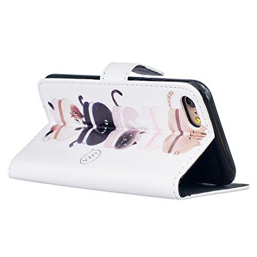 Para Smartphone Apple Iphone 7(4.7pulgadas) funda Flip cover funda piel [Tarjetero] funda piel cartera Executive Diseño + Polvo Conector negro 3 7