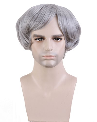 Cool2day® Fashion Men's Short Curly Layered Heat Resistant Hair For Party Full Wig JF1638 (Silver Gray)