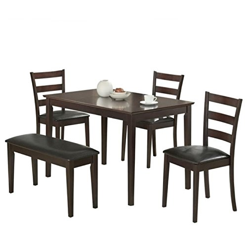 Bowery Hill 5 Piece Dining Set with Bench in Dark Brown
