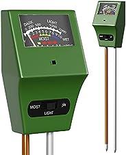 Soil Plant Moisture Meter, 3-1 Soil Moisture pH Light Meter, Water Sensor for House Indoor Outdoor Plants, Tes