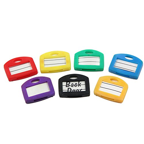 Key Cap Tags, 24 Pack, 6 Assorted Colors Key ID Ring Covers with Blank Labels, All in One Perfect Coding System