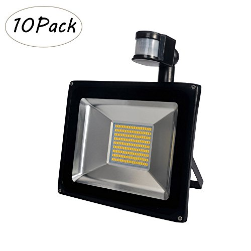 10 Pack 100W LED Motion Sensor Flood Light,IP65 Waterproof PIR Outdoor & Indoor Security Floodlight For home,garden,Garage - Warm White by Oshide