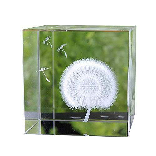 Cube Birthday Glass (XGCMY 3D Dandelion Paperweight (Laser Etched) in Crystal Glass Cube Birthday/Valentine's Day/Christmas Romantic Gifts (No Included LED Base))