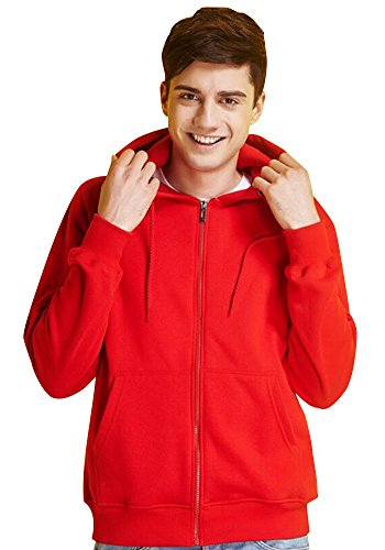 - JKQA Men's Full-Zip EcoSmart Fleece Hoodie (M, Red)
