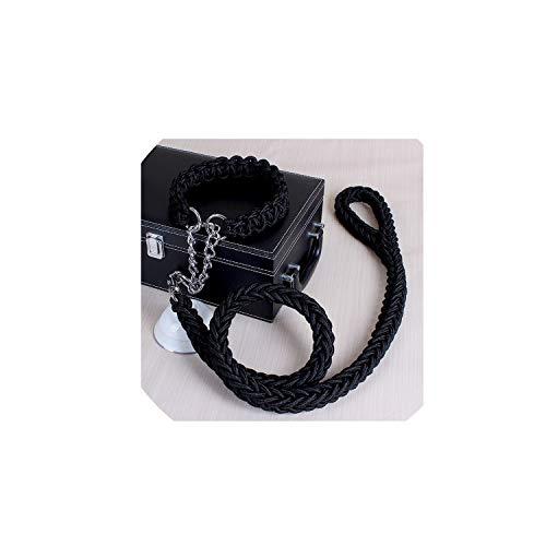 Large Dog Leashes Rope Nylon Adjustable Walking Training Lead Pet Dog Leash Dog Strap Rope Traction Dog Harness Collar Lead 20D1,Black,S
